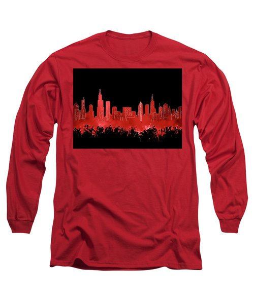 Chicago Skyline Watercolor 5 Long Sleeve T-Shirt