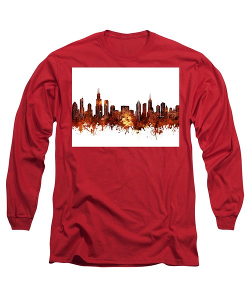 Chicago Skyline Watercolor 6 Long Sleeve T-Shirt