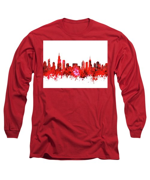 Chicago Skyline Watercolor Red Long Sleeve T-Shirt
