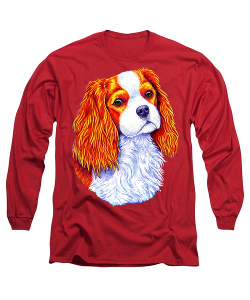 Colorful Cavalier King Charles Spaniel Dog Long Sleeve T-Shirt