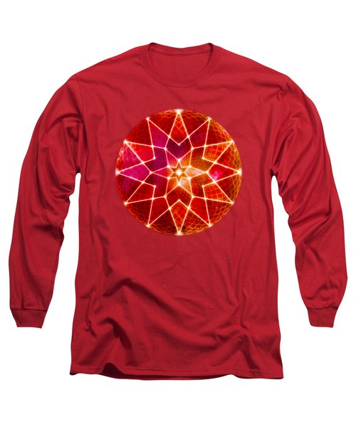 Cosmic Geometric Seed Of Life Crystal Red Lotus Star Mandala Long Sleeve T-Shirt
