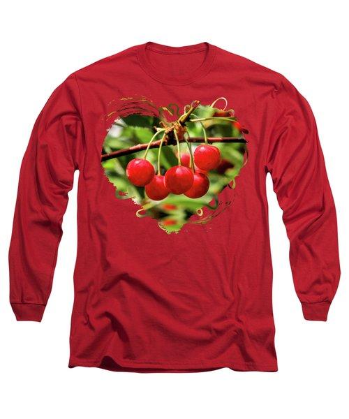 Door County Cherry Hanging Cherries Long Sleeve T-Shirt