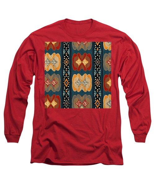 East African Heart And Diamond Stripe Pattern Long Sleeve T-Shirt