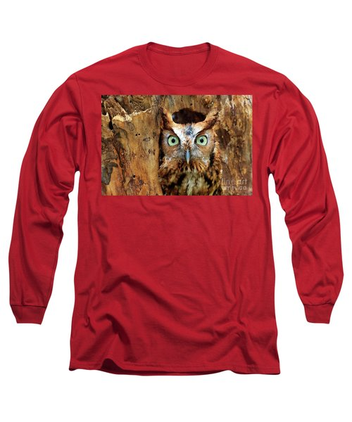 Eastern Screech Owl Perched In A Hole In A Tree Long Sleeve T-Shirt