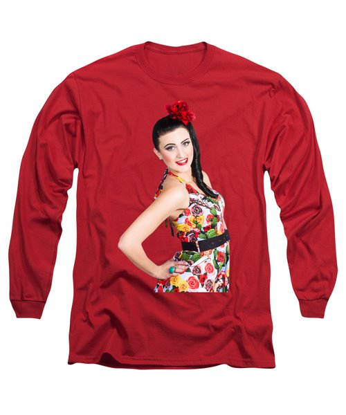 Elegant Latino Dancer Girl Performing Salsa Dance Long Sleeve T-Shirt