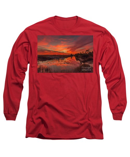 Explosive Sunset At Pine Glades Long Sleeve T-Shirt