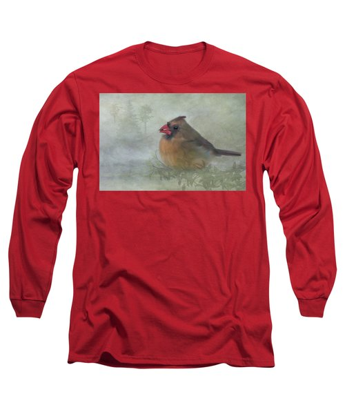 Female Cardinal With Seed Long Sleeve T-Shirt