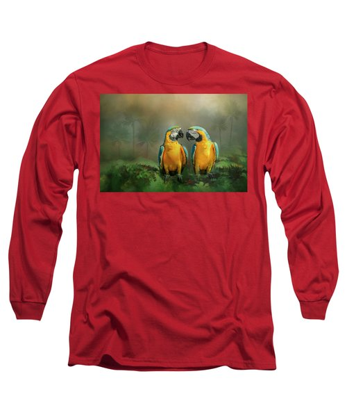 Gold And Blue Macaw Pair Long Sleeve T-Shirt