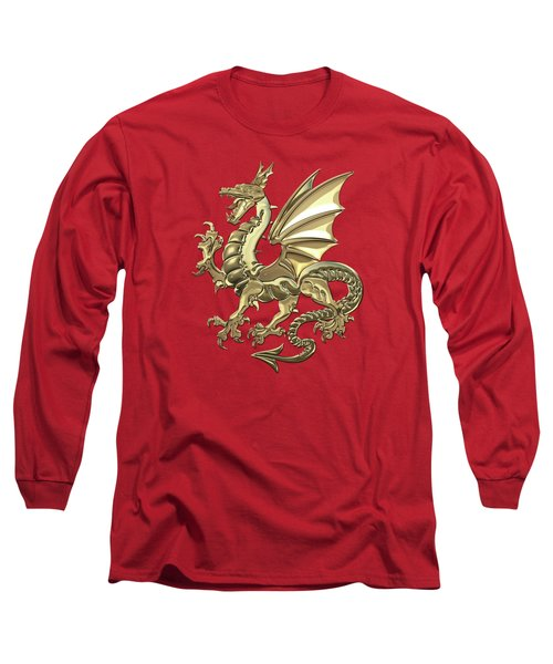 Gold Winged Norse Dragon - Icelandic Viking Landvaettir Over Red Velvet  Long Sleeve T-Shirt