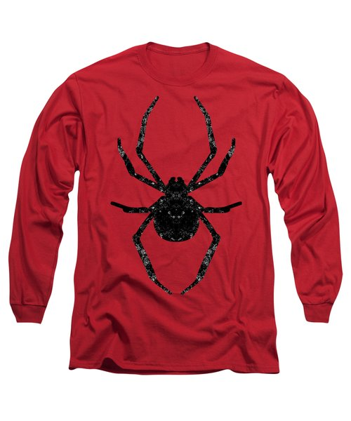 Long Sleeve T-Shirt featuring the mixed media Halloween Spider  by Rachel Hannah