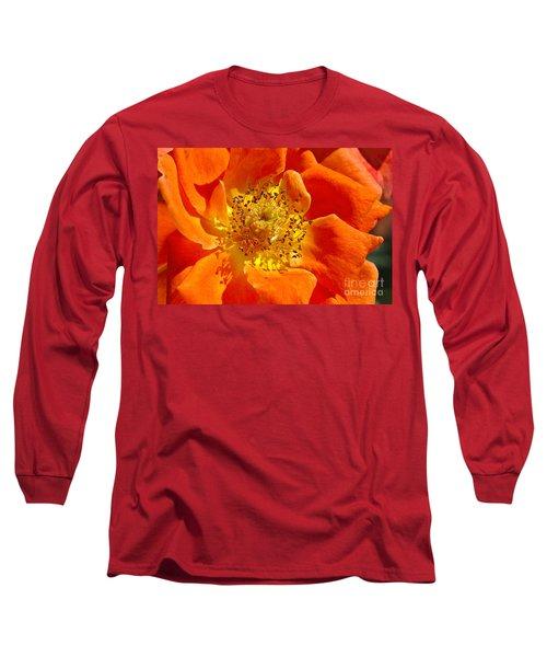 Heart Of The Orange Rose Long Sleeve T-Shirt
