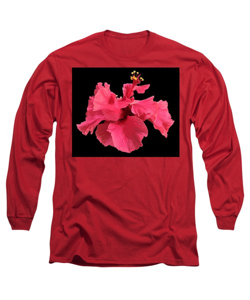 Hibiscus Pink In Black Long Sleeve T-Shirt