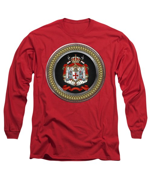 Knights Templar - Coat Of Arms Special Edition Over Red Leather Long Sleeve T-Shirt
