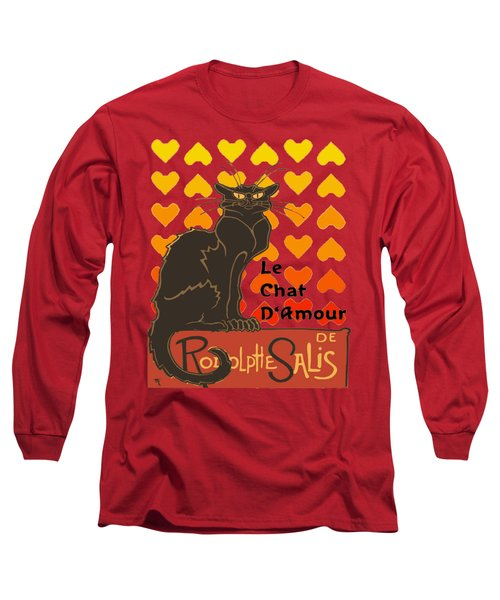 Le Chat D Amour Valentine Cat With Lovehearts Long Sleeve T-Shirt