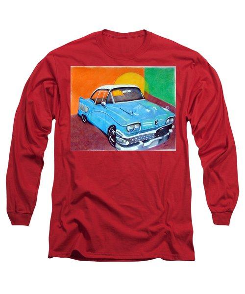 Light Blue 1950s Car  Long Sleeve T-Shirt