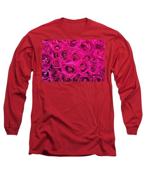 Magenta Roses Long Sleeve T-Shirt