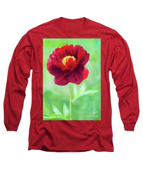 Magnificent Crimson Peony Long Sleeve T-Shirt