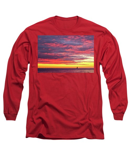Morning Fire Over Whaleback Light Long Sleeve T-Shirt