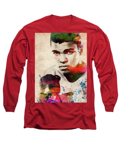 Muhammad Ali Watercolor Portrait Long Sleeve T-Shirt