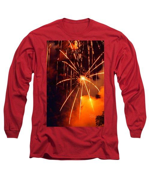 Orange Fireworks Long Sleeve T-Shirt