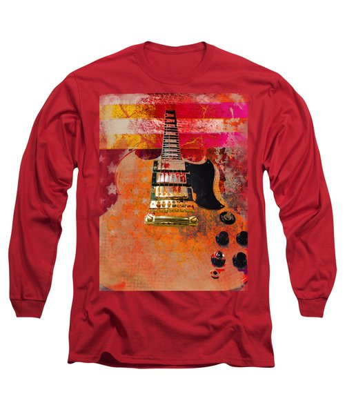 Long Sleeve T-Shirt featuring the digital art Orange Electric Guitar And American Flag by Guitar Wacky