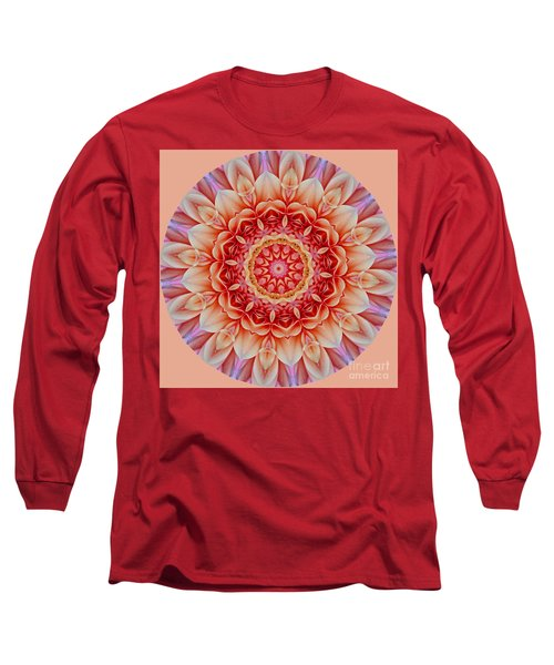 Peach Floral Mandala Long Sleeve T-Shirt