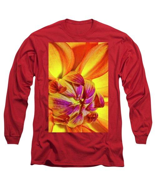 Peach Purple Flower Long Sleeve T-Shirt