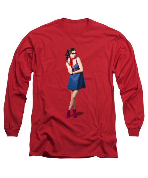 Pin Up Styling Fashion Girl In Retro Denim Dress Long Sleeve T-Shirt