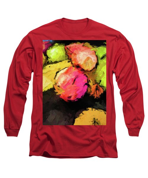 Pink And Green Apples With The Yellow Banana Long Sleeve T-Shirt