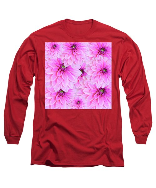 Pink Dahlia Flower Design Long Sleeve T-Shirt