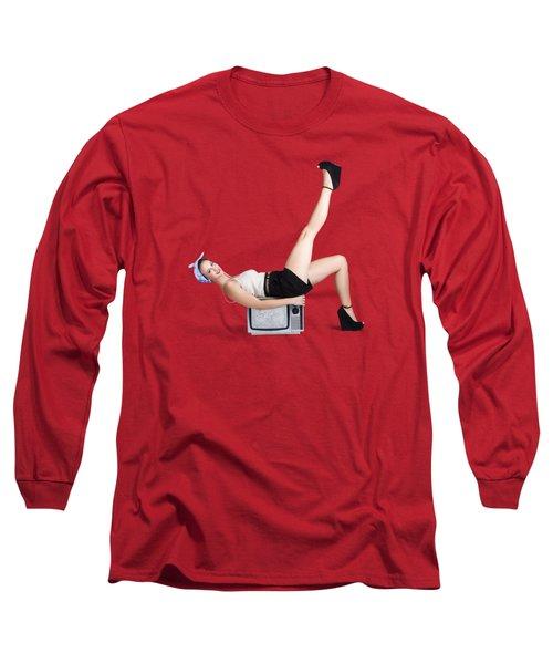 Pinup Girl Balancing On Television Set Long Sleeve T-Shirt