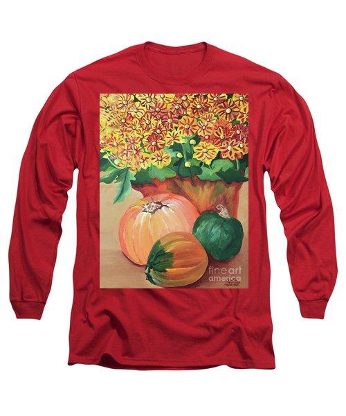 Pumpkin With Flowers Long Sleeve T-Shirt
