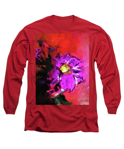 Purple And Yellow Flower And The Red Wall Long Sleeve T-Shirt
