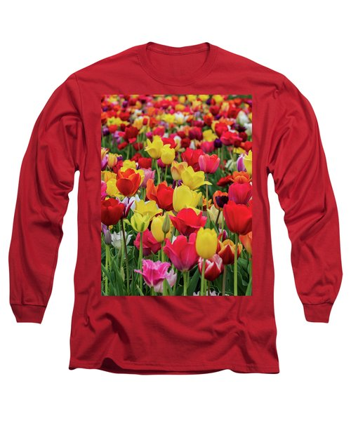 Long Sleeve T-Shirt featuring the photograph Red And Yellow Tulips by Louis Dallara