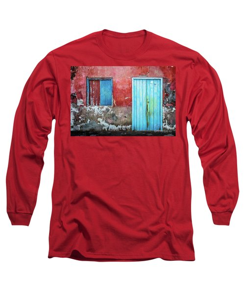 Red, Blue And Grey Wall, Door And Window Long Sleeve T-Shirt