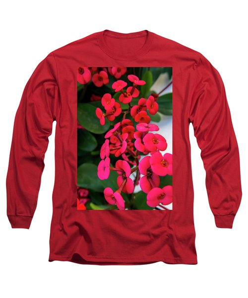 Red Flowers In Bloom Long Sleeve T-Shirt