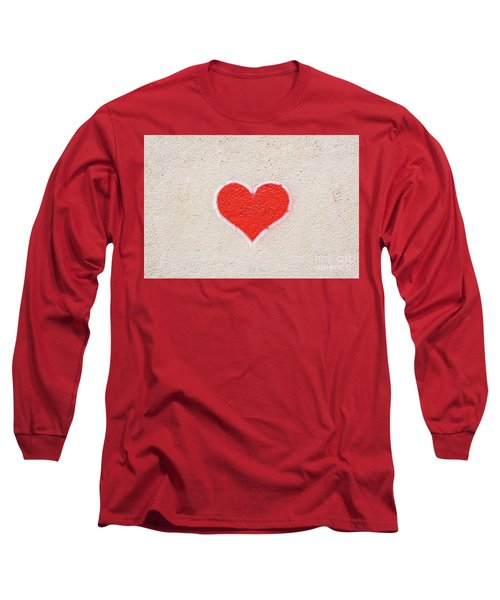 Red Heart Painted On A Wall, Message Of Love. Long Sleeve T-Shirt