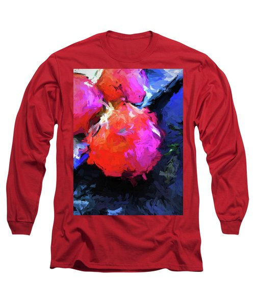 Red Pomegranate In The Blue Light Long Sleeve T-Shirt
