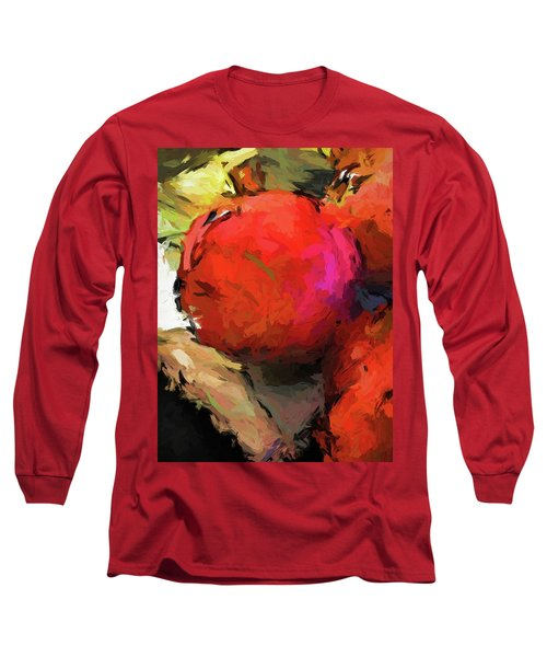 Red Pomegranate In The Yellow Light Long Sleeve T-Shirt