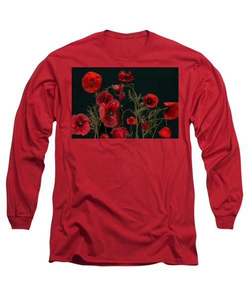 Red Poppies On Black Long Sleeve T-Shirt