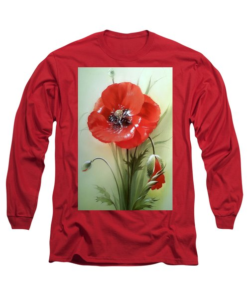 Red Poppy Flower With Bud Long Sleeve T-Shirt