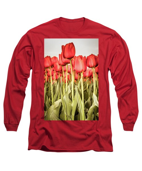Long Sleeve T-Shirt featuring the photograph Red Tulip Field In Portrait Format. by Anjo Ten Kate