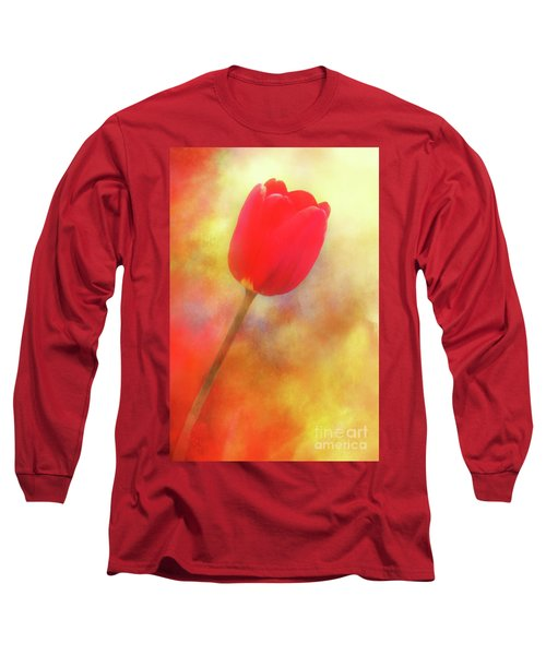 Red Tulip Reaching For The Sun Long Sleeve T-Shirt