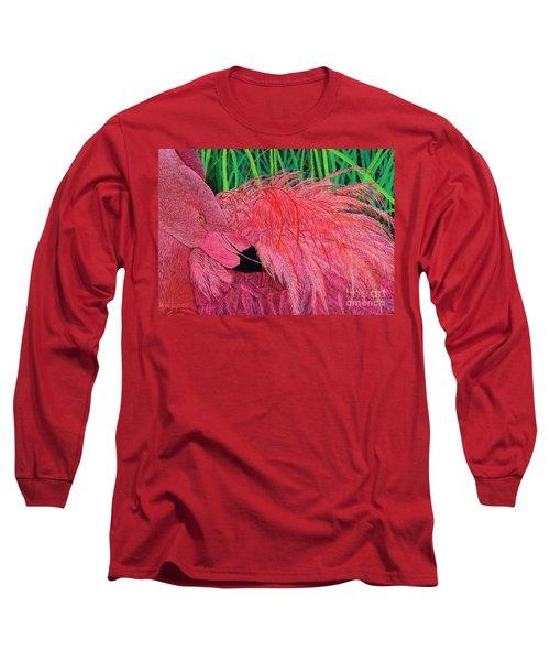 Ruffled Flamingo Long Sleeve T-Shirt