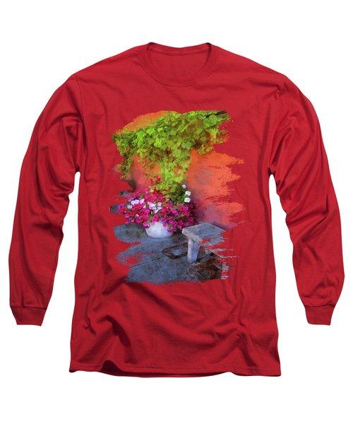 Sidewalk Floral In Brownsville Long Sleeve T-Shirt