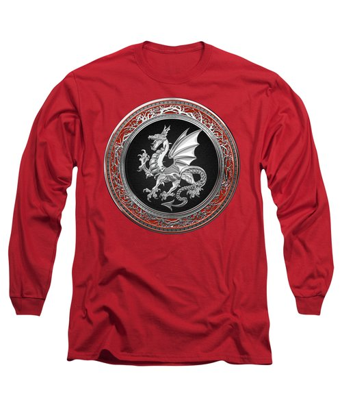 Silver Winged Norse Dragon - Icelandic Viking Landvaettir On Black And Silver Medallion Over Red  Long Sleeve T-Shirt