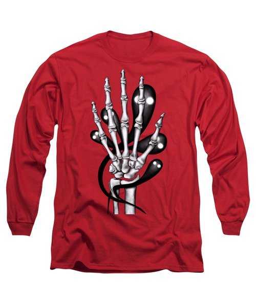 Skeleton Hand With Creepy Ghosts Long Sleeve T-Shirt