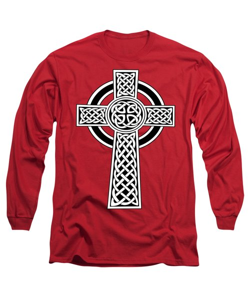 St Patrick's Day Celtic Cross Black And White Long Sleeve T-Shirt
