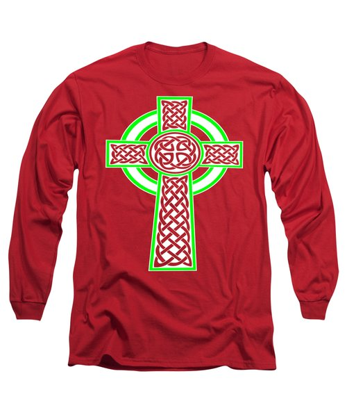 St Patrick's Day Celtic Cross White And Green Long Sleeve T-Shirt