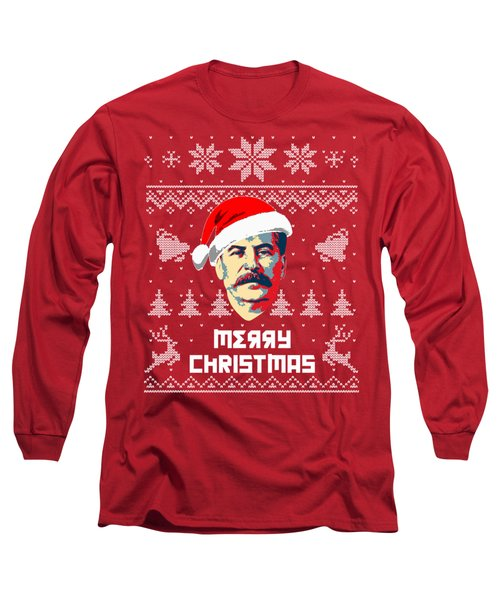 Stalin Merry Christmas Russian Letters Long Sleeve T-Shirt